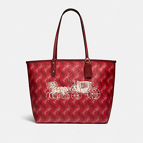 COACH F82135 REVERSIBLE CITY TOTE WITH HORSE AND CARRIAGE PRINT IM/BRIGHT-RED/CHERRY-MULTI