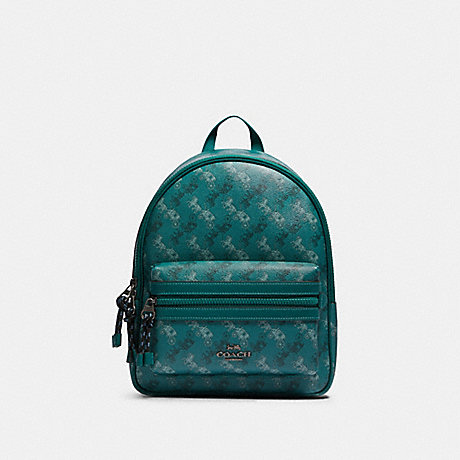 COACH F82136 VALE MEDIUM CHARLIE BACKPACK WITH HORSE AND CARRIAGE PRINT QB/VIRIDIAN-SAGE-MULTI