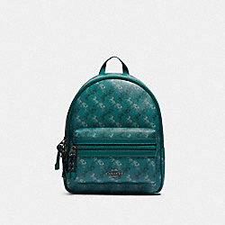VALE MEDIUM CHARLIE BACKPACK WITH HORSE AND CARRIAGE PRINT - F82136 - QB/VIRIDIAN SAGE MULTI