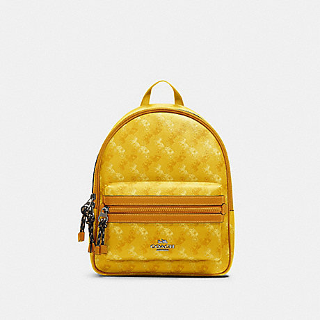 COACH F82136 VALE MEDIUM CHARLIE BACKPACK WITH HORSE AND CARRIAGE PRINT SV/YELLOW-MULTI
