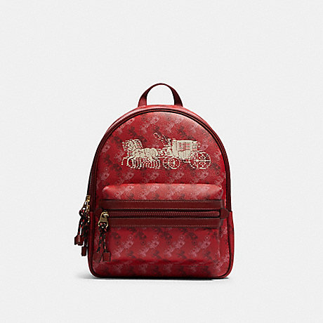 COACH F82358 VALE MEDIUM CHARLIE BACKPACK WITH HORSE AND CARRIAGE PRINT IM/BRIGHT-RED/CHERRY-MULTI