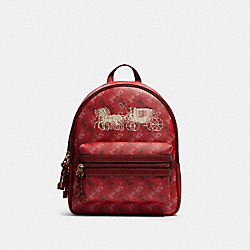 VALE MEDIUM CHARLIE BACKPACK WITH HORSE AND CARRIAGE PRINT - F82358 - IM/BRIGHT RED/CHERRY MULTI