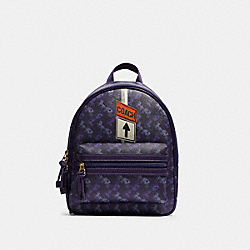 VALE MEDIUM CHARLIE BACKPACK WITH HORSE AND CARRIAGE PRINT - F82358 - IM/DARK PURPLE/LAVENDAR MULTI