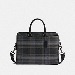 COACH F83000 Beckett Portfolio Brief In Signature Canvas With Plaid Print QB/BLACK MULTI