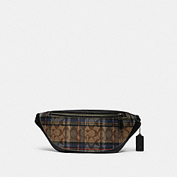 WARREN BELT BAG IN SIGNATURE CANVAS WITH PLAID PRINT - F83001 - QB/KHAKI MULTI
