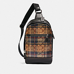 COACH F83006 - GRAHAM PACK IN SIGNATURE CANVAS WITH PLAID PRINT QB/KHAKI MULTI