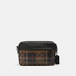 GRAHAM CROSSBODY IN SIGNATURE CANVAS WITH PLAID PRINT - F83024 - QB/KHAKI MULTI