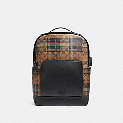 GRAHAM BACKPACK IN SIGNATURE CANVAS WITH PLAID PRINT - F83025 - QB/KHAKI MULTI