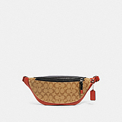 WARREN BELT BAG IN COLORBLOCK SIGNATURE CANVAS - F83029 - QB/TAN TERRACOTTA