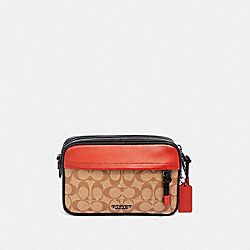 COACH F83133 Graham Crossbody In Colorblock Signature Canvas QB/TAN TERRACOTTA