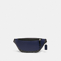 WARREN BELT BAG IN COLORBLOCK SIGNATURE CANVAS - F83134 - QB/CHARCOAL CADET