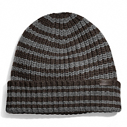 COACH F83147 Cashmere Striped Ribbed Knit Cap LIGHT GREY