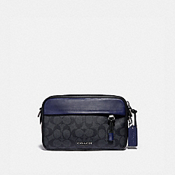 COACH F83265 Graham Crossbody In Colorblock Signature Canvas QB/CHARCOAL CADET