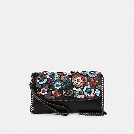 COACH F83269 CHAIN CROSSBODY WITH LEATHER SEQUINS QB/BLACK-MULTI