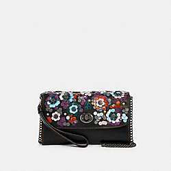 CHAIN CROSSBODY WITH LEATHER SEQUINS - F83269 - QB/BLACK MULTI