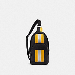 COACH F83270 Houston Pack With Varsity Stripe QB/BLACK/BANANA/SILVER