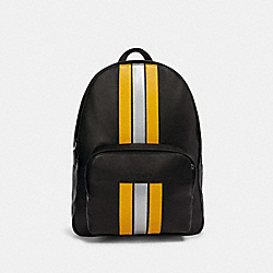 COACH F83276 Houston Backpack With Varsity Stripe QB/BLACK/BANANA/SILVER