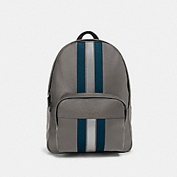 COACH F83276 Houston Backpack With Varsity Stripe QB/HEATHER GREY/AEGEAN/SILVER