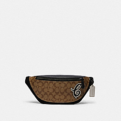 COACH F83282 Warren Belt Bag In Signature Canvas With Signature Motif QB/TAN BLACK