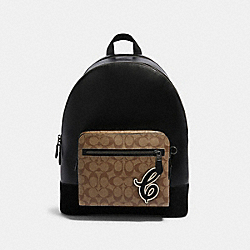 COACH F83287 West Backpack In Signature Canvas With Signature Motif QB/TAN BLACK