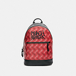 COACH F83421 West Slim Backpack With Horse And Carriage Print QB/BRIGHT RED MULTI