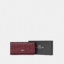 COACH F83504 Boxed Trifold Wallet In Signature Leather SV/WINE