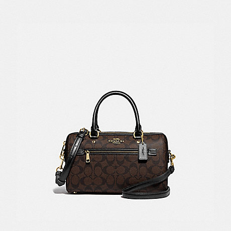 COACH F83607 ROWAN SATCHEL IN SIGNATURE CANVAS IM/BROWN/BLACK