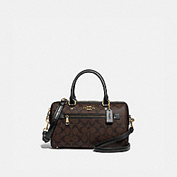 ROWAN SATCHEL IN SIGNATURE CANVAS - F83607 - IM/BROWN/BLACK