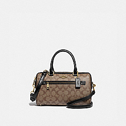 ROWAN SATCHEL IN SIGNATURE CANVAS - F83607 - IM/KHAKI/BLACK