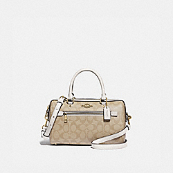 ROWAN SATCHEL IN SIGNATURE CANVAS - F83607 - IM/LIGHT KHAKI/CHALK