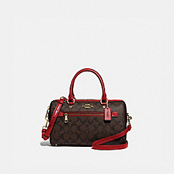 ROWAN SATCHEL IN SIGNATURE CANVAS - F83607 - IM/BROWN TRUE RED