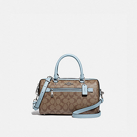 COACH F83607 ROWAN SATCHEL IN SIGNATURE CANVAS SV/KHAKI-PALE-BLUE