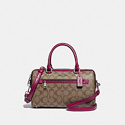 ROWAN SATCHEL IN SIGNATURE CANVAS - F83607 - SV/KHAKI DARK FUCHSIA