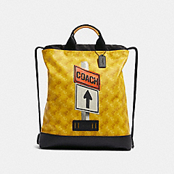COACH F83608 Terrain Drawstring Backpack With Horse And Carriage Print QB/YELLOW MULTI