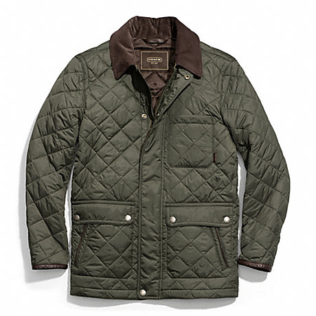 COACH F83611 QUILTED HACKING JACKET OLIVE