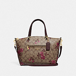 PRAIRIE SATCHEL IN SIGNATURE CANVAS WITH VICTORIAN FLORAL PRINT - F83628 - IM/KHAKI BERRY MULTI