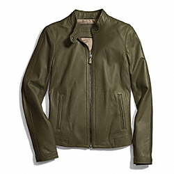 ZIP LEATHER JACKET - f83635 - FATIGUE
