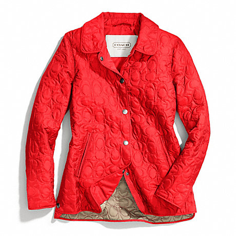 Coach F83637 Signature C Quilted Hacking Jacket Vermillion