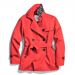COACH SOLID SHORT TRENCH COAT - HOT ORANGE - F83641