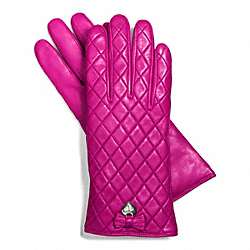 COACH F83722 Leather Quilted Bow Glove SILVER/MAGENTA