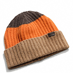 COACH F83761 Block Stripe Knit Hat