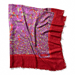 COACH F83825 Ocelot Square Shawl VERMILLION