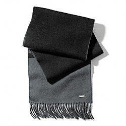 COACH F83829 Reversible Blanket Scarf BLACK/CHARCOAL