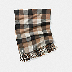 COACH F83830 Square Plaid Fringy Scarf C0E