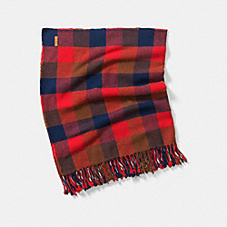 COACH F83830 Square Plaid Fringy Scarf RED