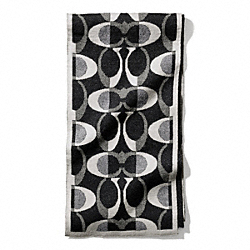 COACH F83834 Tonal Dream C Knit Scarf BLACK/SILVER