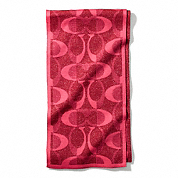 COACH F83834 Tonal Dream C Knit Scarf PINK SCARLET/SILVER