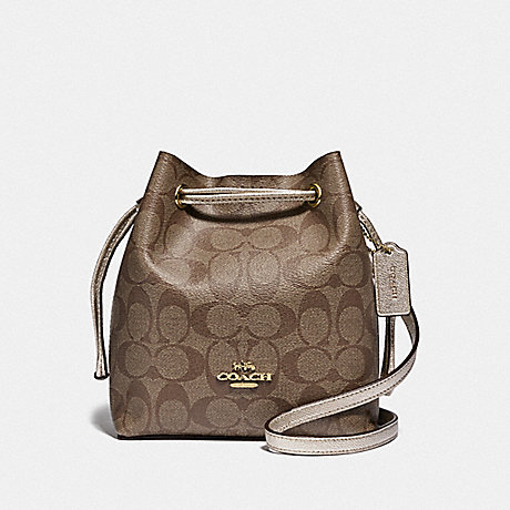 COACH F83856 LENA CROSSBODY IN SIGNATURE CANVAS IM/KHAKI-PLATINUM