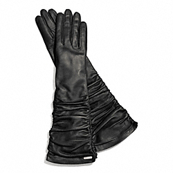 COACH F83958 Leather Long Glove SILVER/BLACK