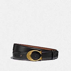COACH F83960 Signature Buckle Belt, 25mm B4/BLACK DARK SADDLE